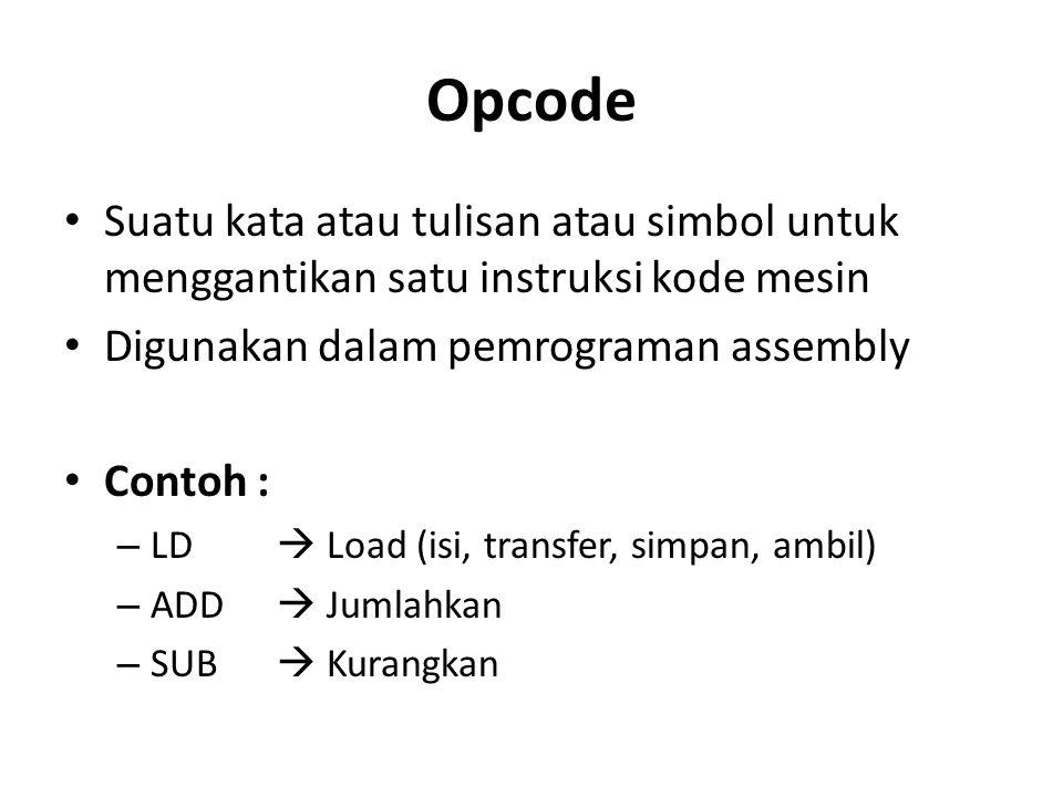 Opcode Suatu kata atau tulisan atau simbol untuk menggantikan satu instruksi kode mesin. Digunakan dalam pemrograman assembly.