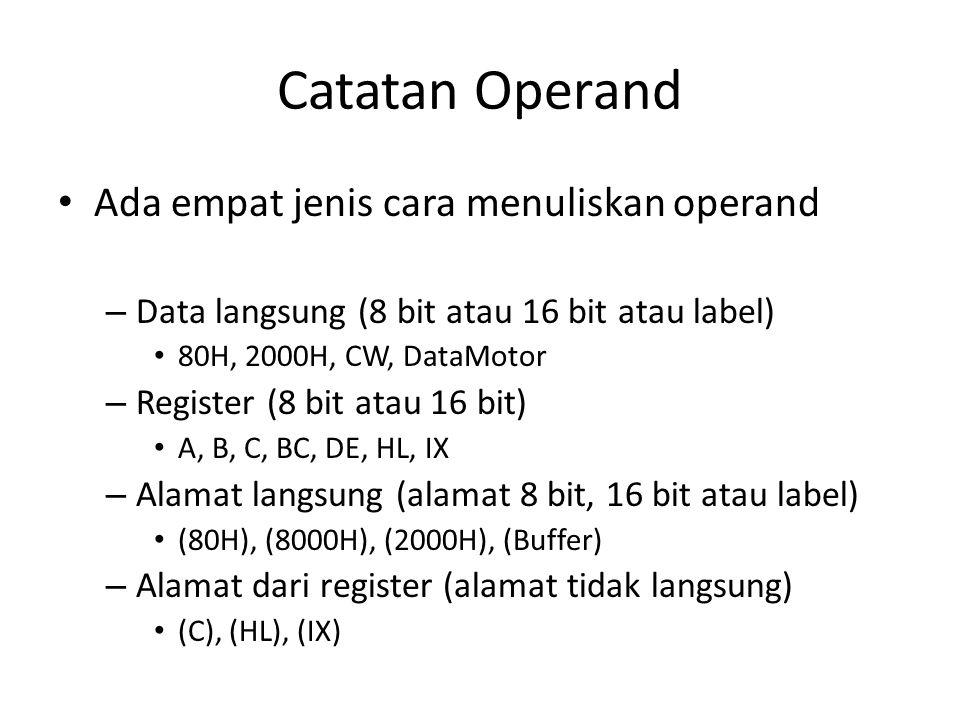 Catatan Operand Ada empat jenis cara menuliskan operand