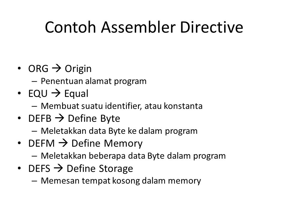 Contoh Assembler Directive