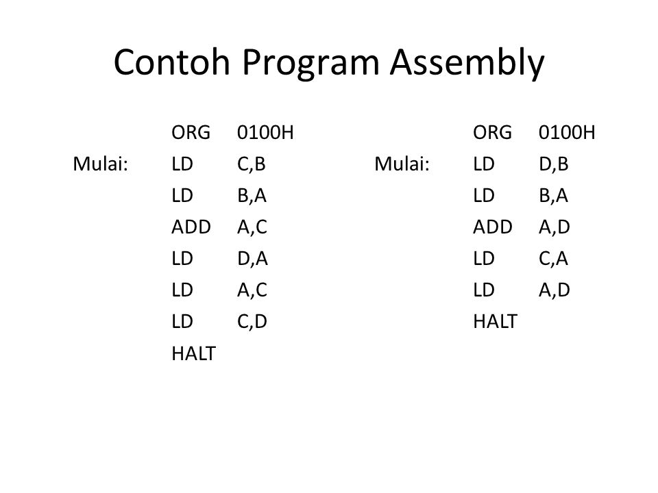 Contoh Program Assembly
