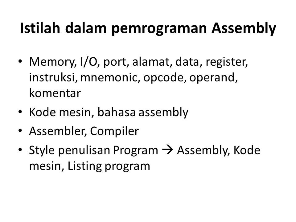 Istilah dalam pemrograman Assembly