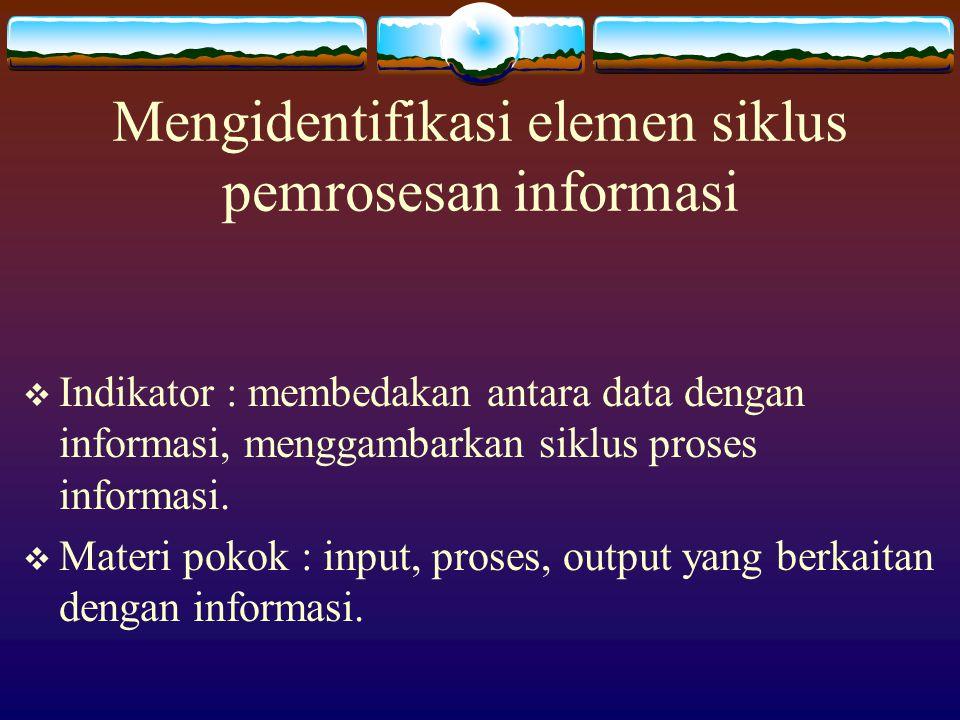 Mengidentifikasi elemen siklus pemrosesan informasi