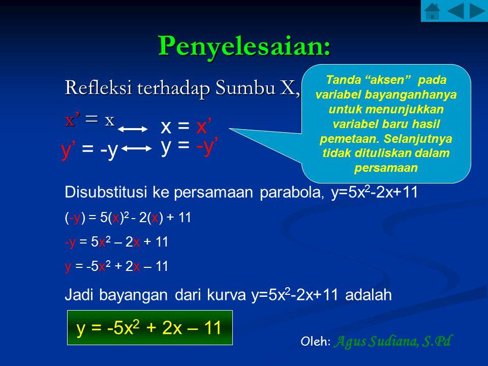 Penyelesaian: Refleksi terhadap Sumbu X, x' = x x = x' y = -y' y' = -y