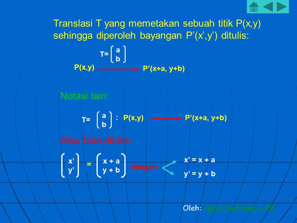 Translasi T yang memetakan sebuah titik P(x,y) sehingga diperoleh bayangan P'(x',y') ditulis: