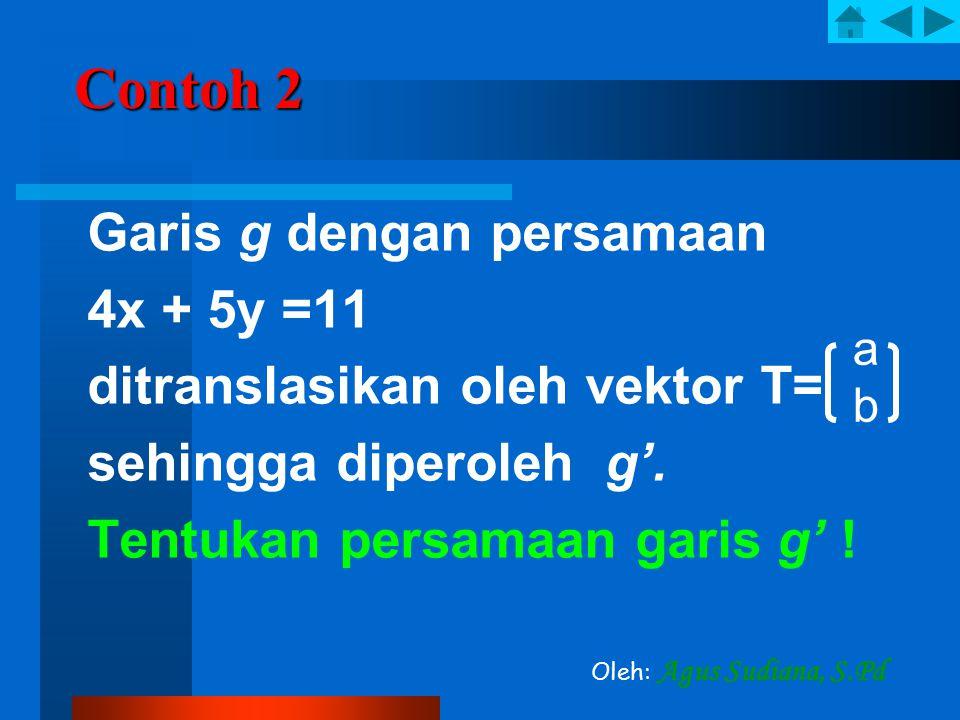 Contoh 2 4x + 5y =11 ditranslasikan oleh vektor T=