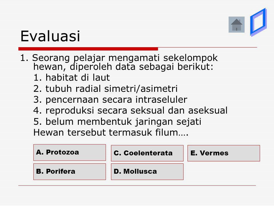 Evaluasi ý. ý. ý. þ. ý. 1. Seorang pelajar mengamati sekelompok hewan, diperoleh data sebagai berikut: