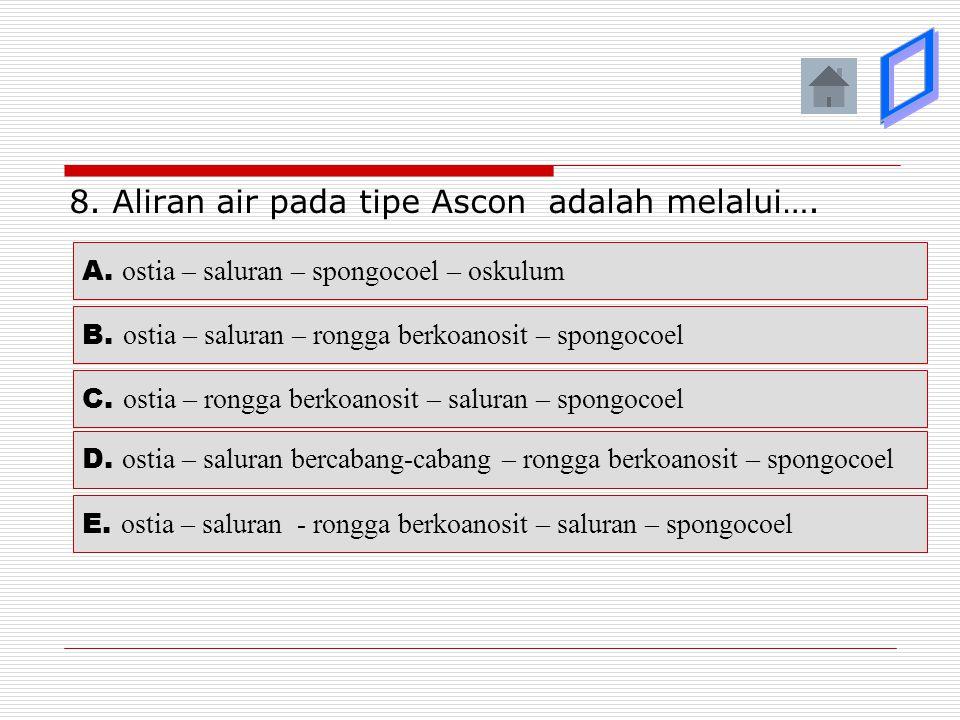 þ ý ý ý ý 8. Aliran air pada tipe Ascon adalah melalui….
