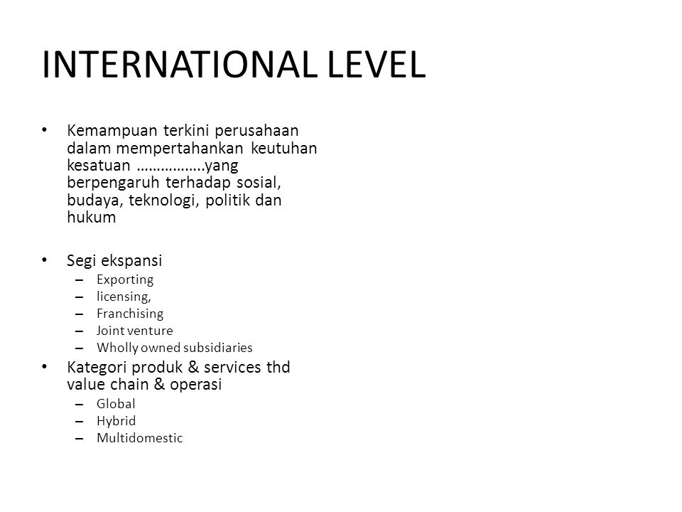 INTERNATIONAL LEVEL