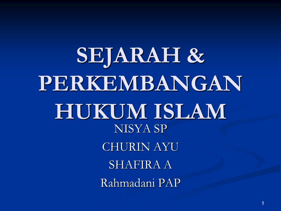 SEJARAH & PERKEMBANGAN HUKUM ISLAM