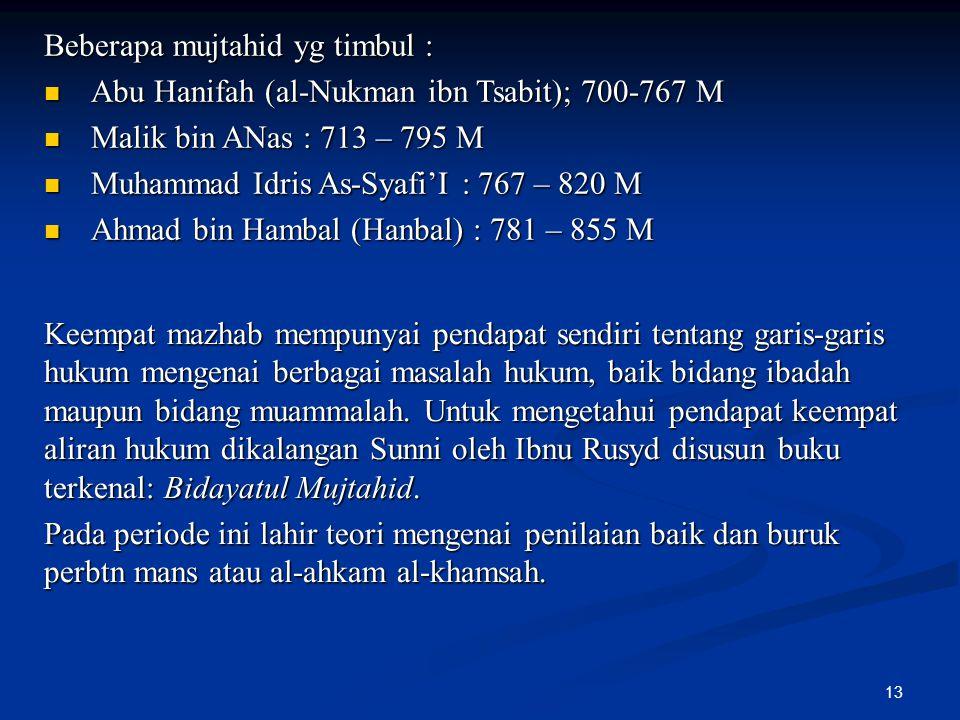 Beberapa mujtahid yg timbul :