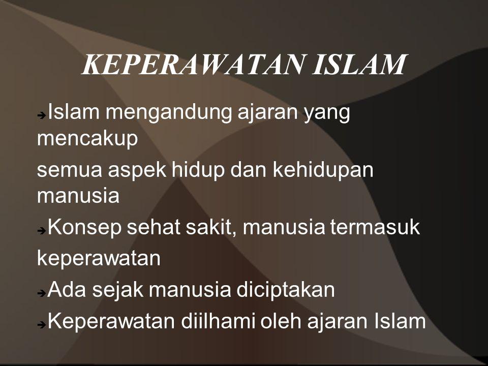 KEPERAWATAN ISLAM Islam mengandung ajaran yang mencakup