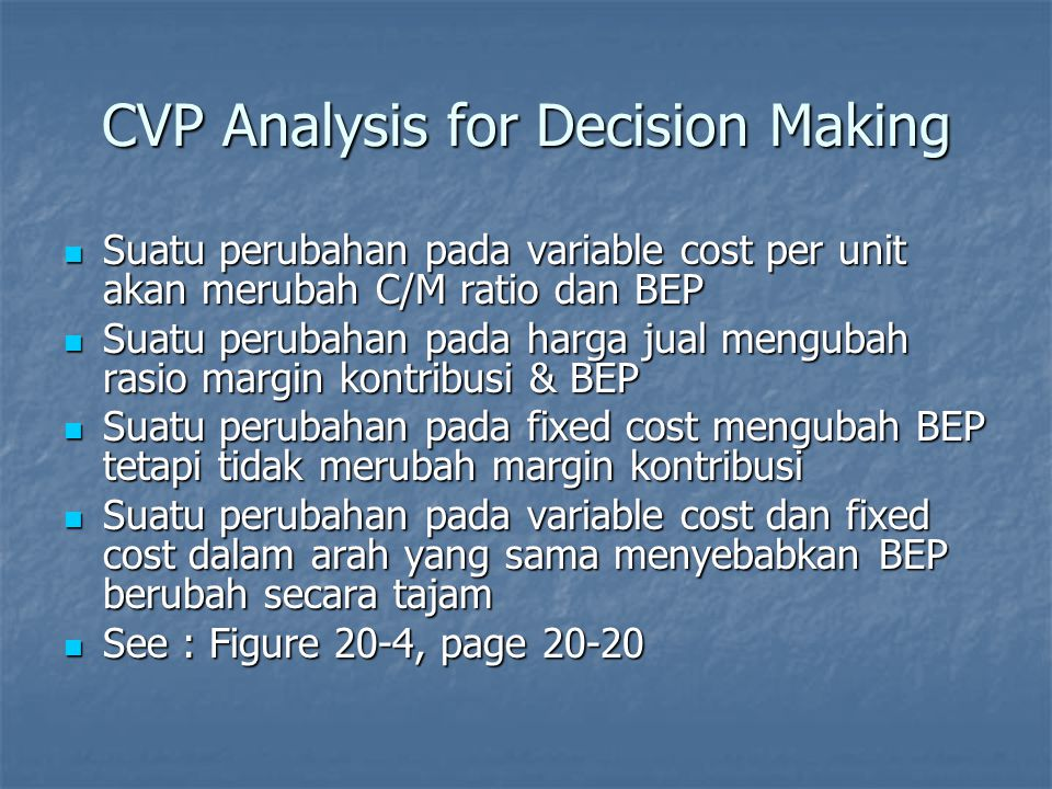 CVP Analysis for Decision Making