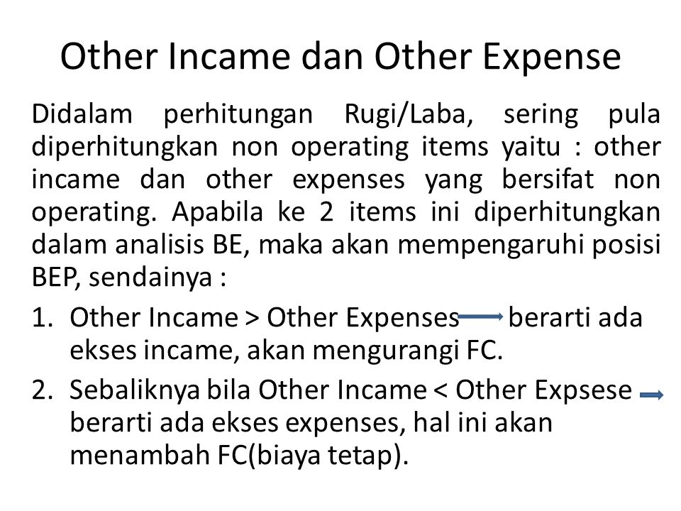 Other Incame dan Other Expense