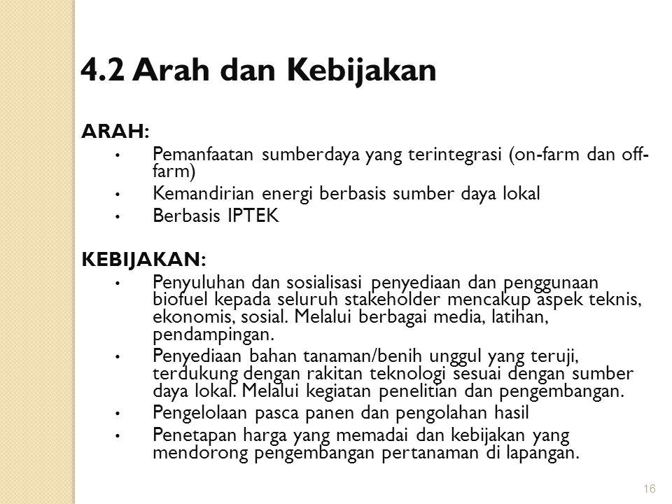 4.2 Arah dan Kebijakan ARAH: