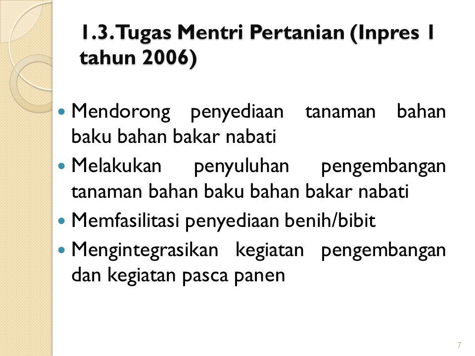 1.3. Tugas Mentri Pertanian (Inpres 1 tahun 2006)