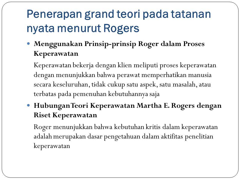 Penerapan grand teori pada tatanan nyata menurut Rogers