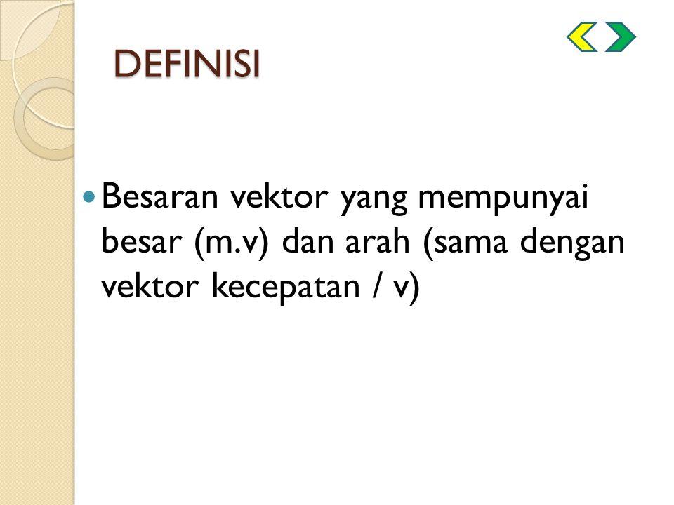 DEFINISI Besaran vektor yang mempunyai besar (m.v) dan arah (sama dengan vektor kecepatan / v)
