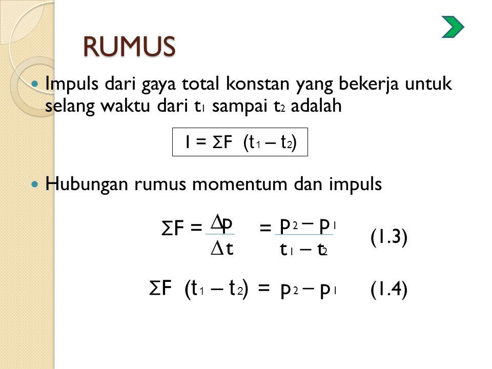 RUMUS ΣF = ∆p ∆ t = p 2 – p 1 t 1 – t2 ΣF (t 1 – t 2) = p 2 – p 1