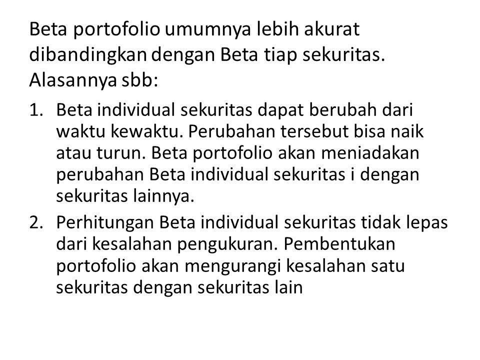 Beta portofolio umumnya lebih akurat dibandingkan dengan Beta tiap sekuritas. Alasannya sbb: