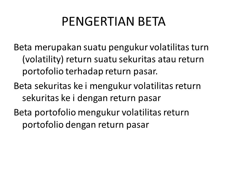 PENGERTIAN BETA