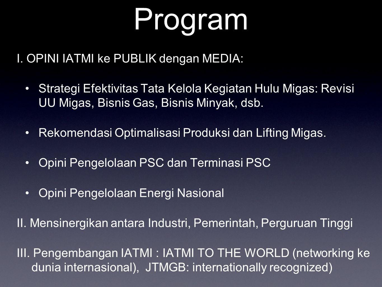 Program I. OPINI IATMI ke PUBLIK dengan MEDIA: