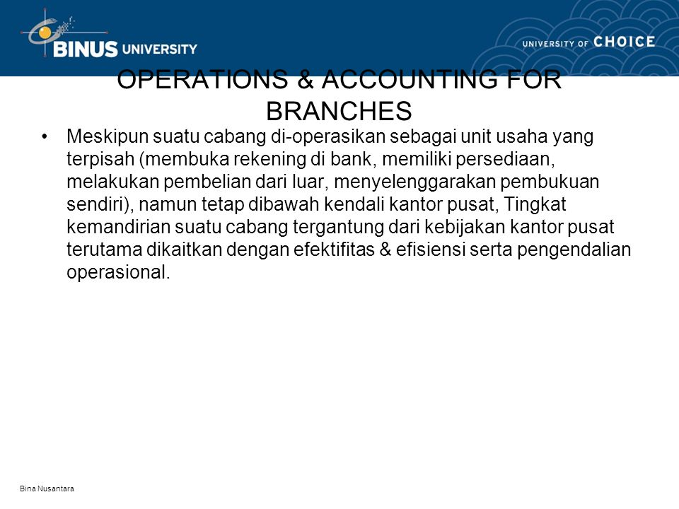 OPERATIONS & ACCOUNTING FOR BRANCHES
