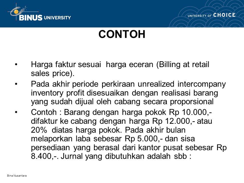 CONTOH Harga faktur sesuai harga eceran (Billing at retail sales price).