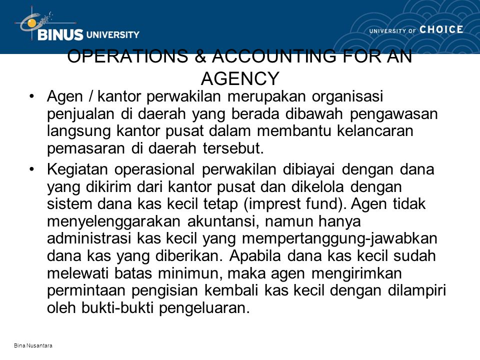 OPERATIONS & ACCOUNTING FOR AN AGENCY