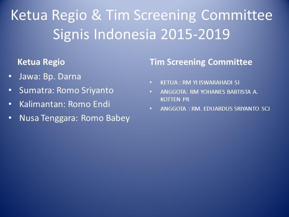Ketua Regio & Tim Screening Committee Signis Indonesia 2015-2019