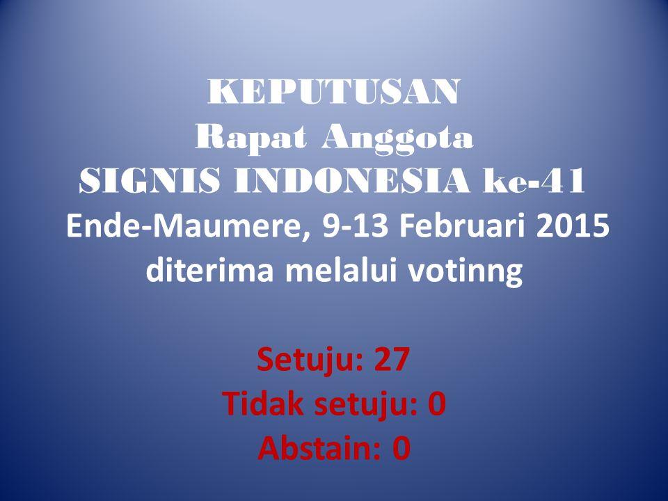KEPUTUSAN Rapat Anggota SIGNIS INDONESIA ke-41 Ende-Maumere, 9-13 Februari 2015 diterima melalui votinng Setuju: 27 Tidak setuju: 0 Abstain: 0