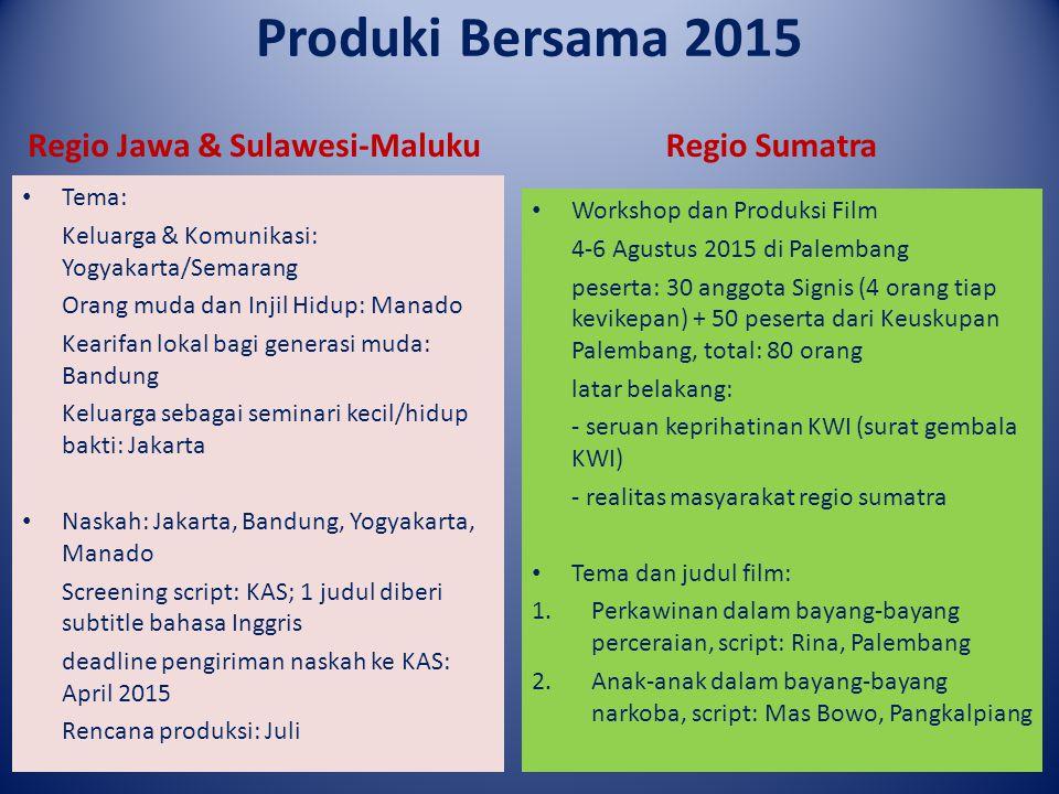 Produki Bersama 2015 Regio Jawa & Sulawesi-Maluku Regio Sumatra Tema: