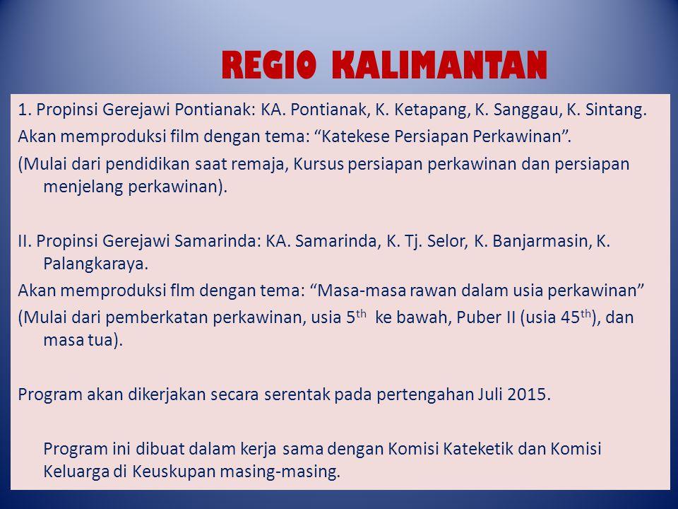 REGIO KALIMANTAN 1. Propinsi Gerejawi Pontianak: KA. Pontianak, K. Ketapang, K. Sanggau, K. Sintang.