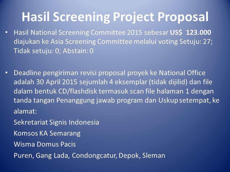 Hasil Screening Project Proposal