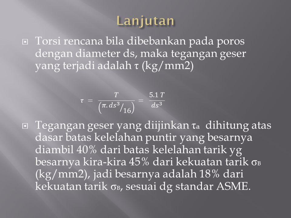 Lanjutan Torsi rencana bila dibebankan pada poros dengan diameter ds, maka tegangan geser yang terjadi adalah τ (kg/mm2)
