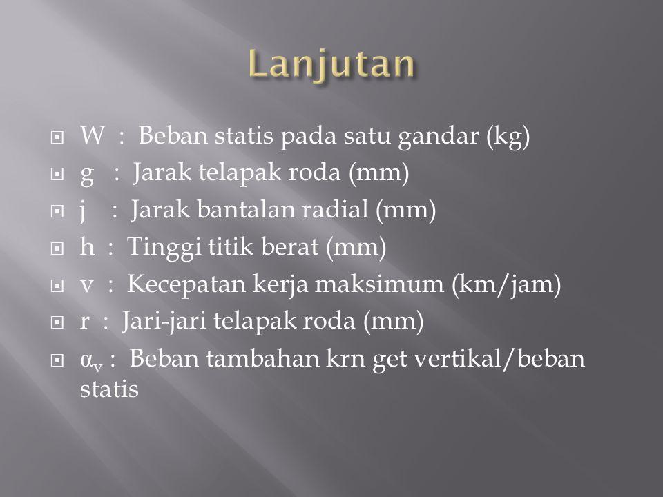 Lanjutan W : Beban statis pada satu gandar (kg)