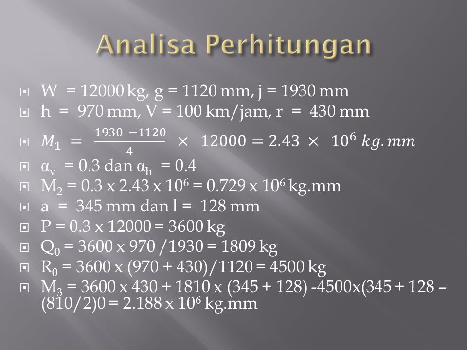 Analisa Perhitungan W = 12000 kg, g = 1120 mm, j = 1930 mm