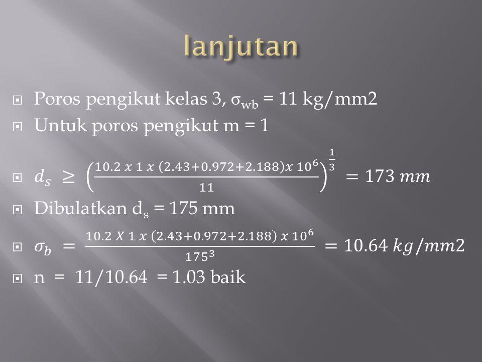 lanjutan Poros pengikut kelas 3, σwb = 11 kg/mm2