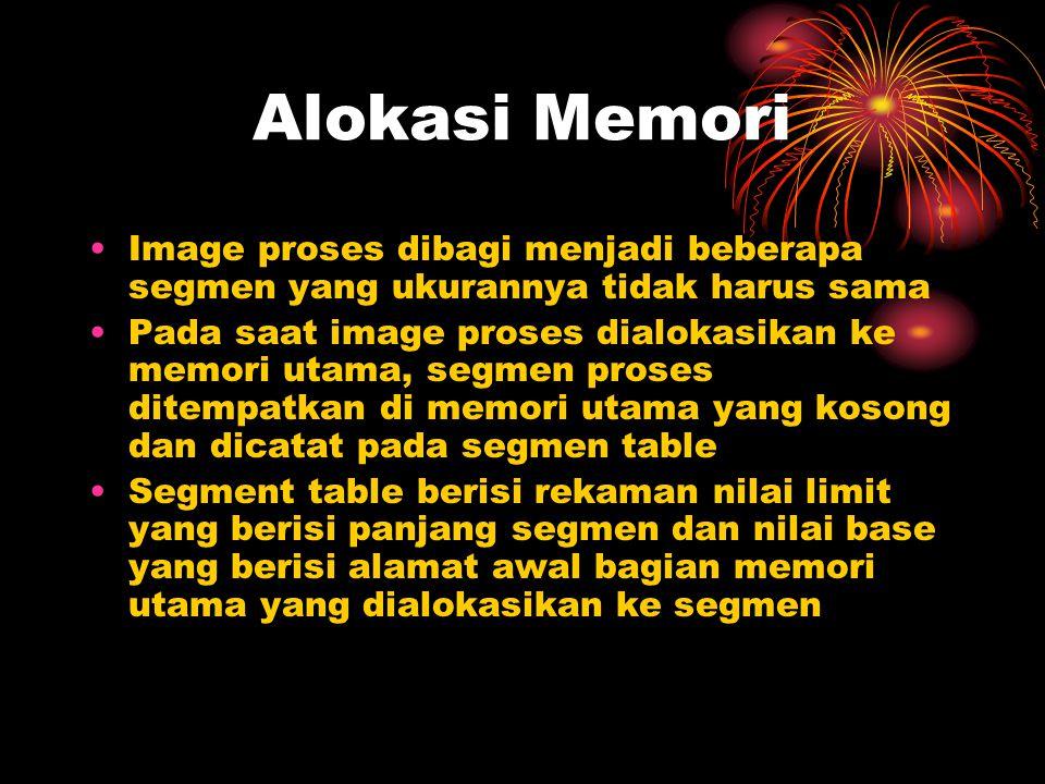 Alokasi Memori Image proses dibagi menjadi beberapa segmen yang ukurannya tidak harus sama.