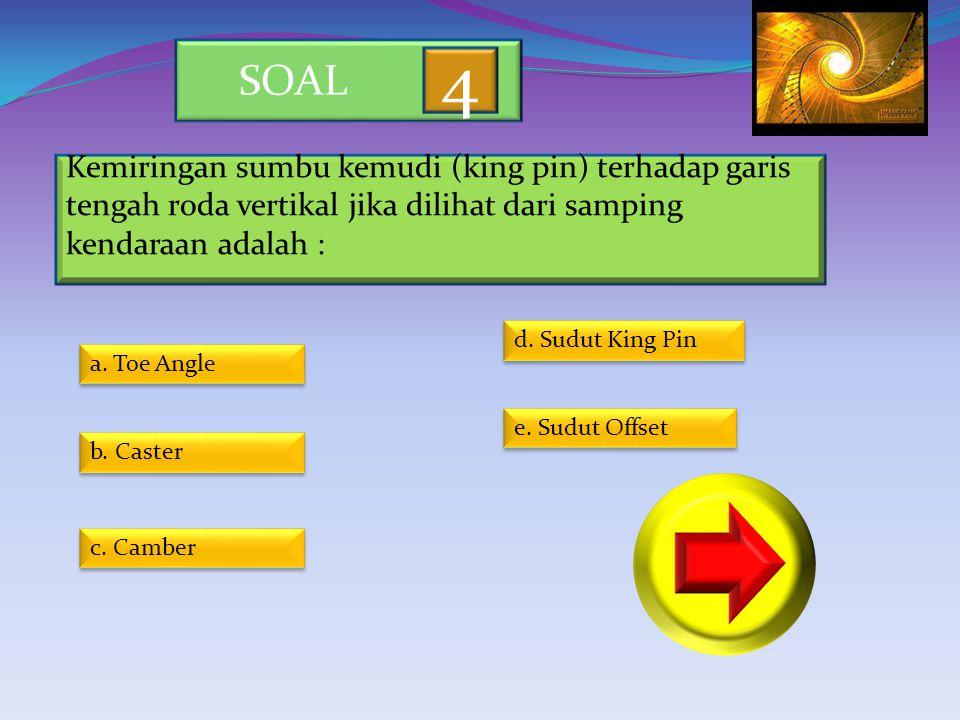 SOAL 4. Kemiringan sumbu kemudi (king pin) terhadap garis tengah roda vertikal jika dilihat dari samping kendaraan adalah :