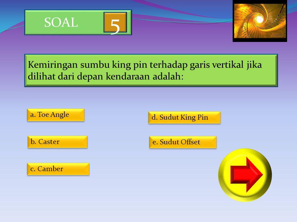 SOAL 5. Kemiringan sumbu king pin terhadap garis vertikal jika dilihat dari depan kendaraan adalah: