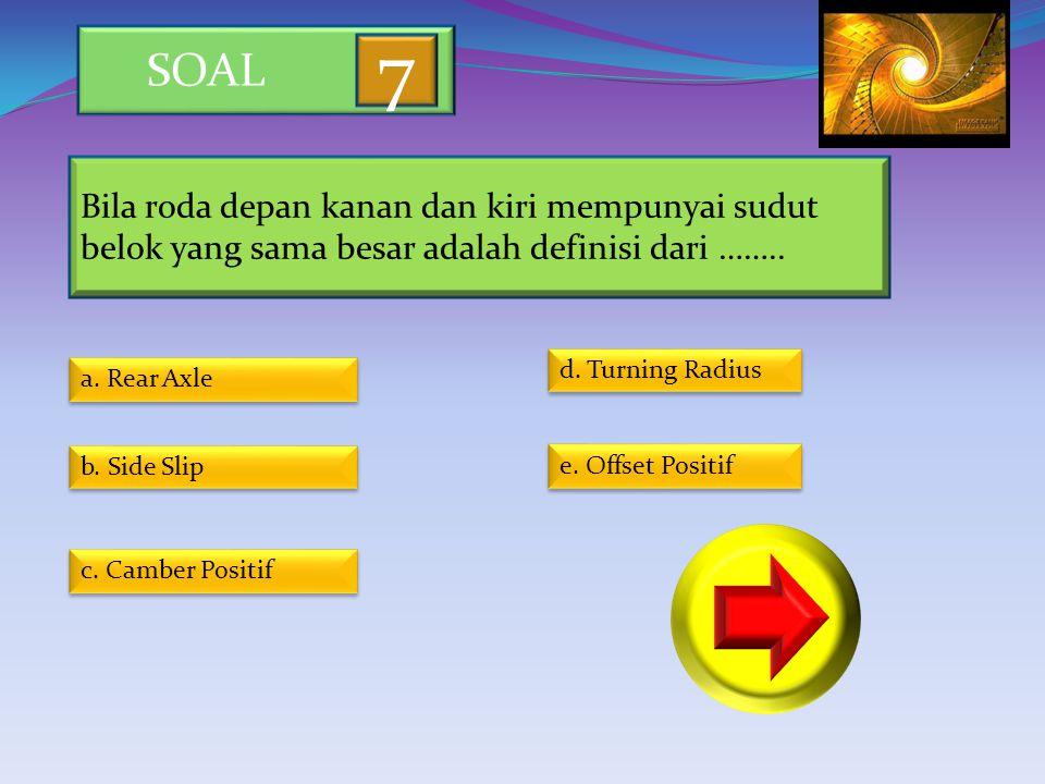 SOAL 7. Bila roda depan kanan dan kiri mempunyai sudut belok yang sama besar adalah definisi dari ……..