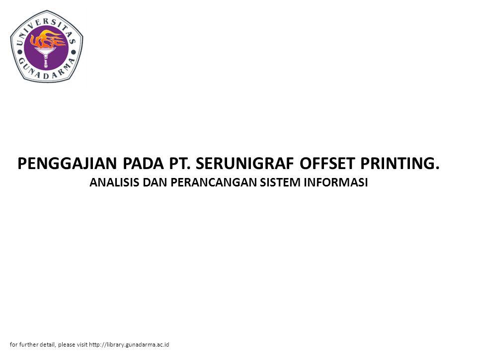PENGGAJIAN PADA PT. SERUNIGRAF OFFSET PRINTING