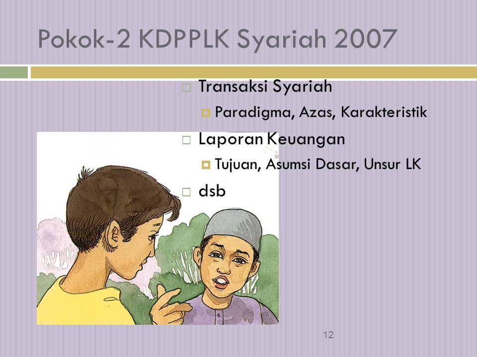 Pokok-2 KDPPLK Syariah 2007 Transaksi Syariah Laporan Keuangan dsb