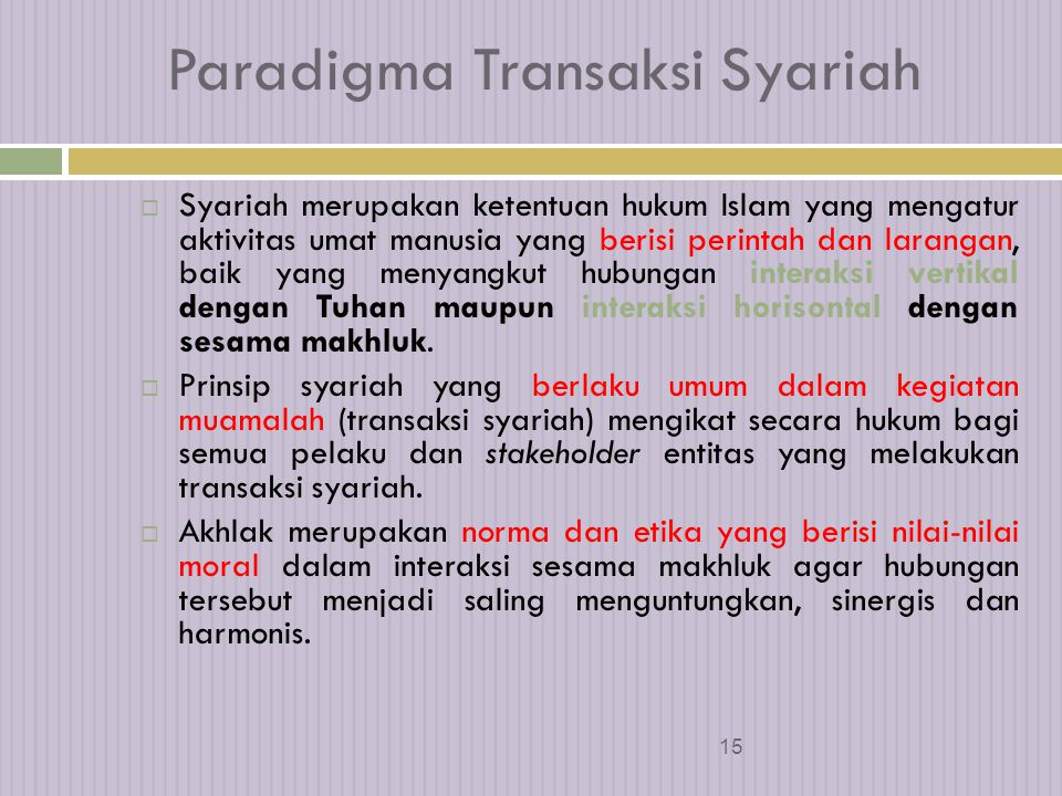 Paradigma Transaksi Syariah