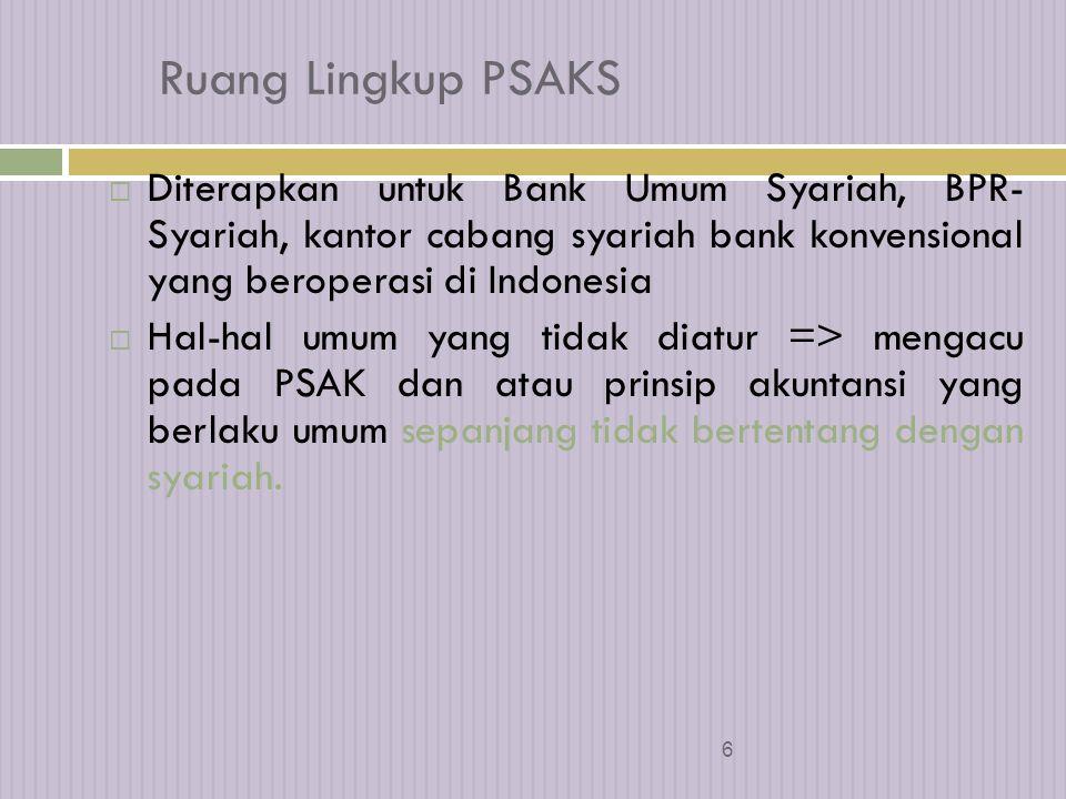 Ruang Lingkup PSAKS Diterapkan untuk Bank Umum Syariah, BPR- Syariah, kantor cabang syariah bank konvensional yang beroperasi di Indonesia.