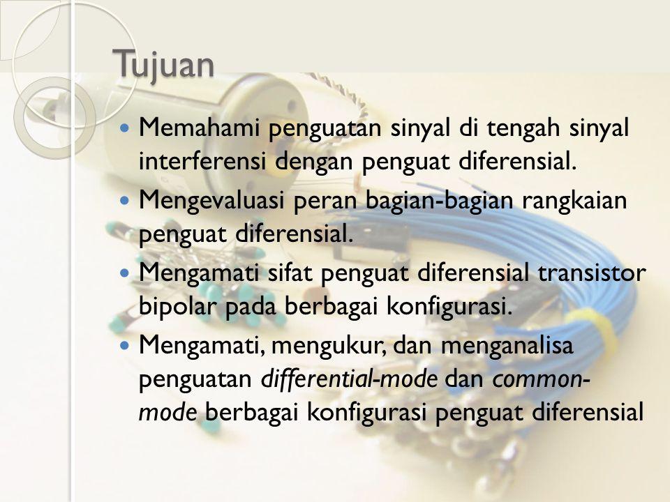 Tujuan Memahami penguatan sinyal di tengah sinyal interferensi dengan penguat diferensial.
