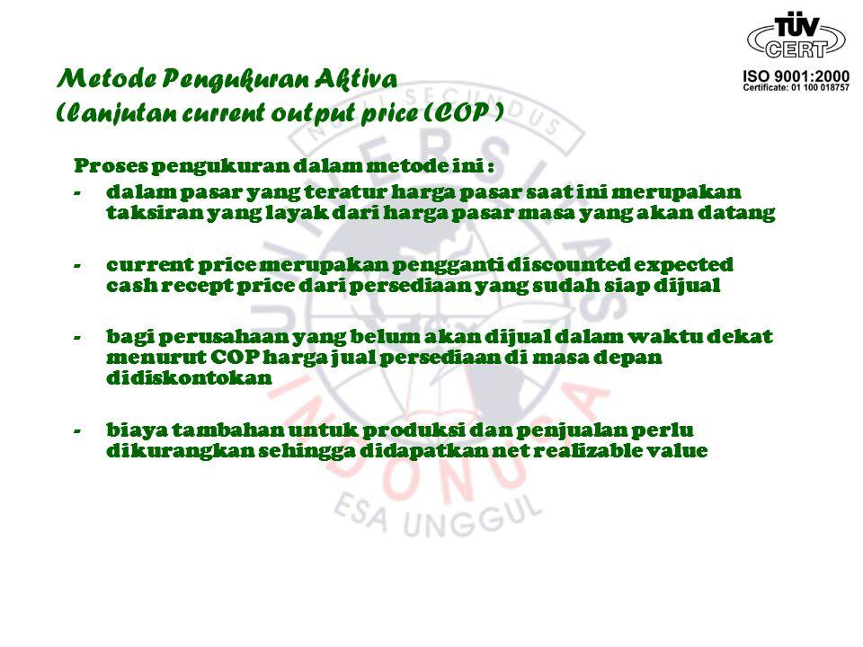 Metode Pengukuran Aktiva (lanjutan current output price (COP )
