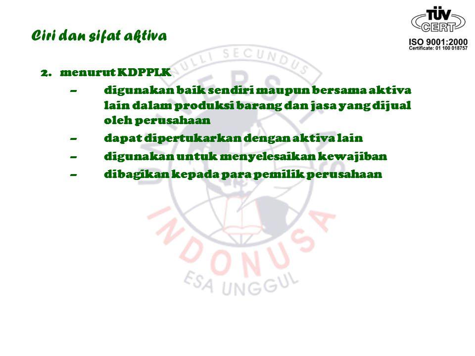 Ciri dan sifat aktiva 2. menurut KDPPLK.