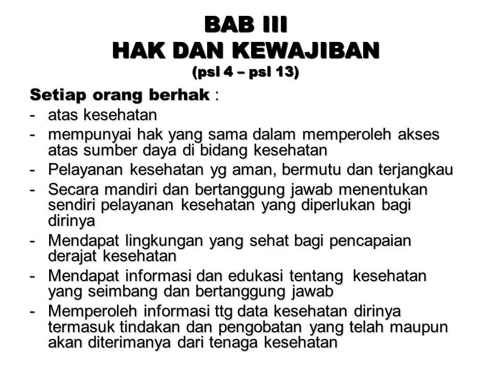 BAB III HAK DAN KEWAJIBAN (psl 4 – psl 13)