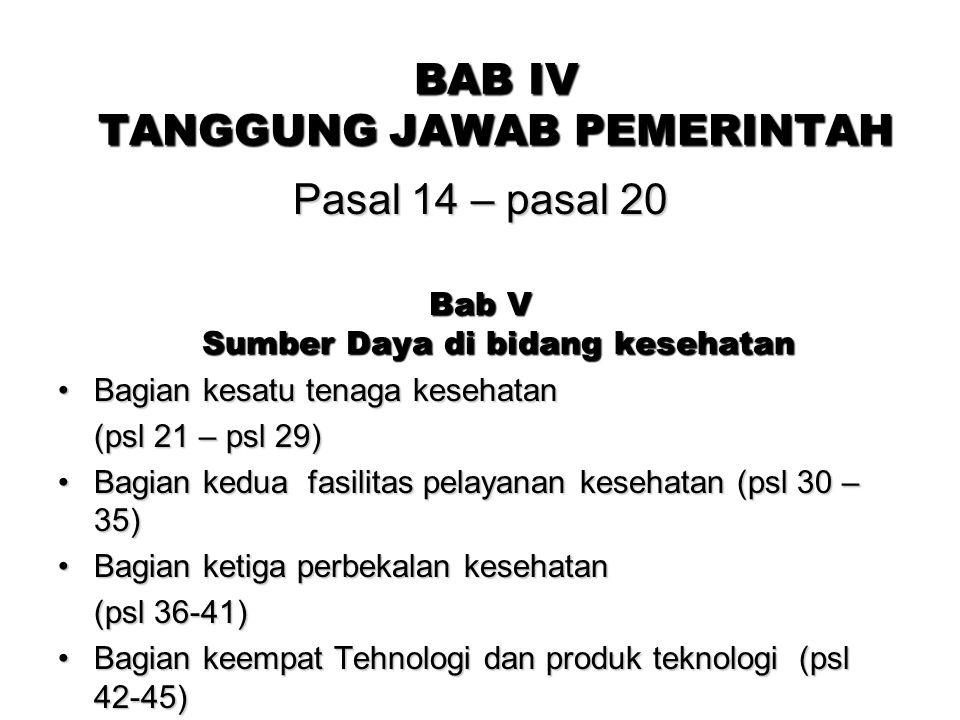 BAB IV TANGGUNG JAWAB PEMERINTAH